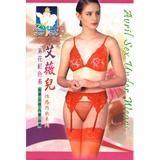 艾微兒四件組素花紅色內衣褲