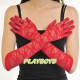 全罩蕾絲花紋手套(紅)-長