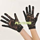 全罩蕾絲花紋手套(黑)-短