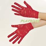 全罩蕾絲花紋手套(紅)-短