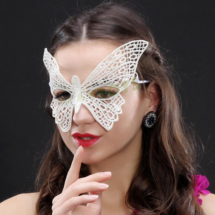 舞蝶幻境鏤空蕾絲眼罩(白色)