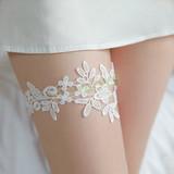 水溶花蕾絲刺繡腿環(白)