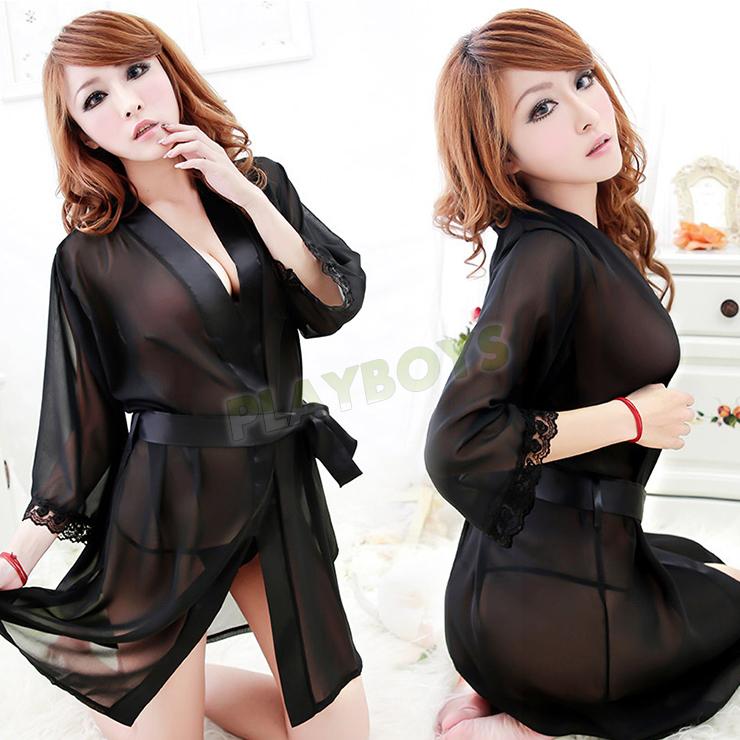 艷降尤物絲滑袍衣(黑 )