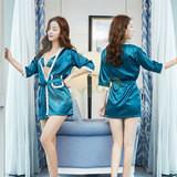 彩魅亮影三點式睡裙(浴袍)藍